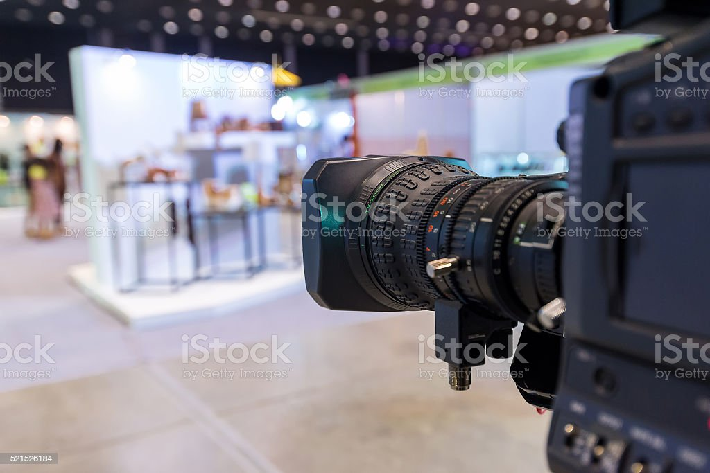 camera broadcasting television working in studio stock photo
