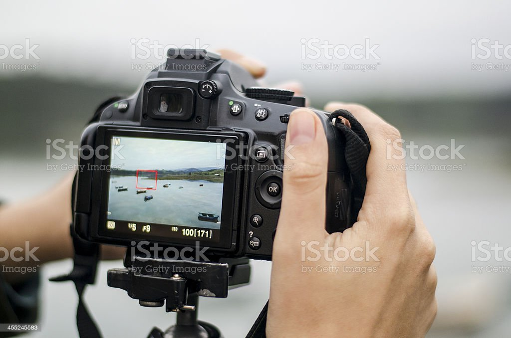 Shooting at the river stock photo