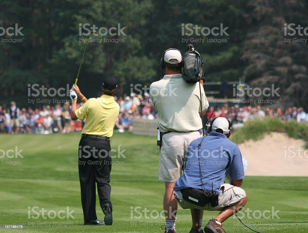 Camera Crew at Sporting Event stock photo