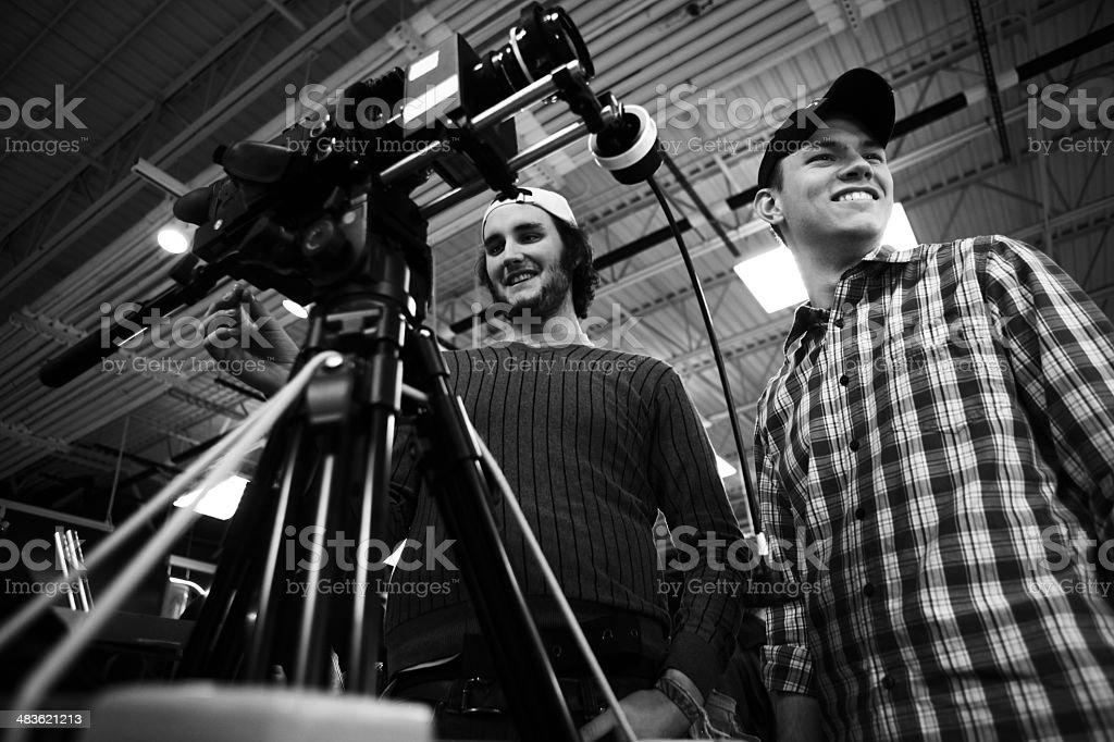 Camera Crew Laughing stock photo