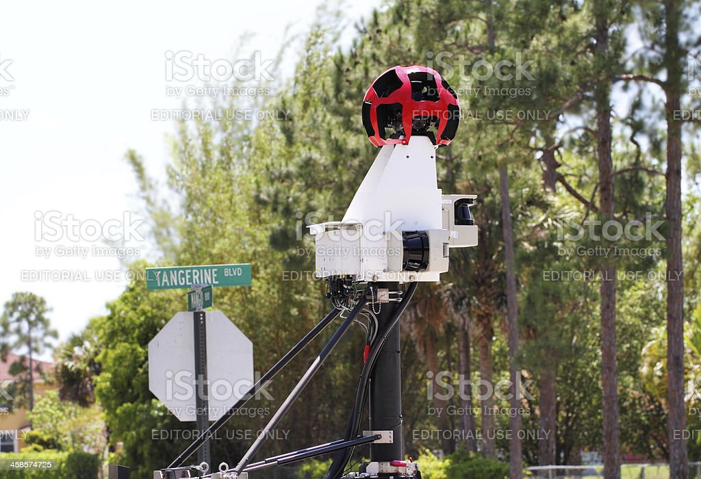 Camera equipment on a Google Street View car stock photo