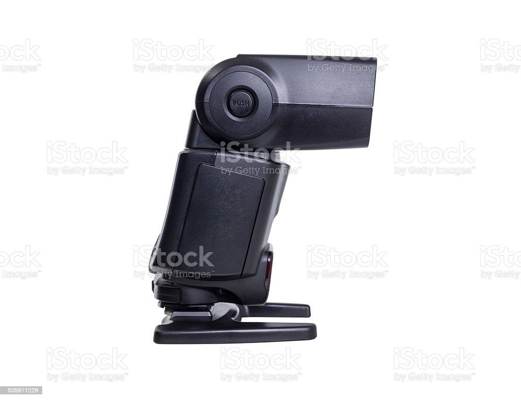 camera flash light isolated on white background stock photo