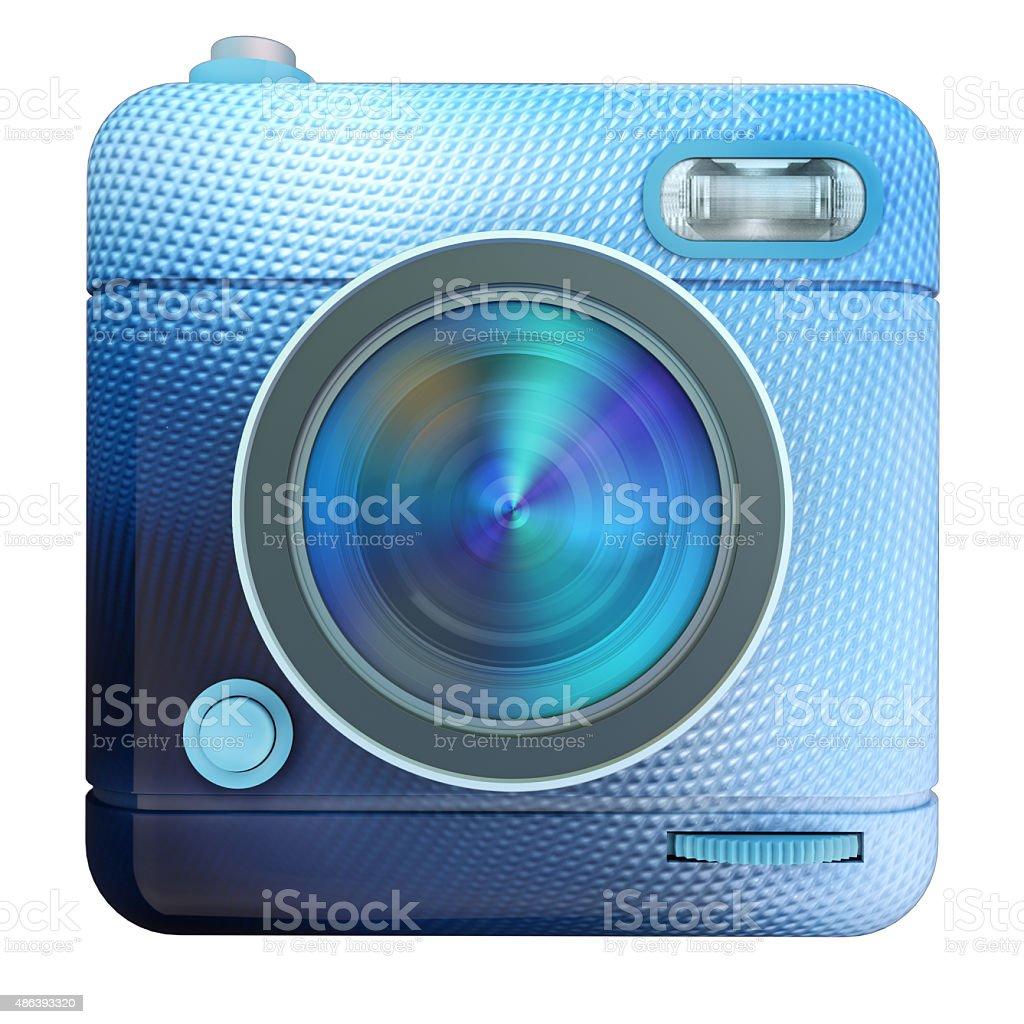 Camera icon blue stock photo