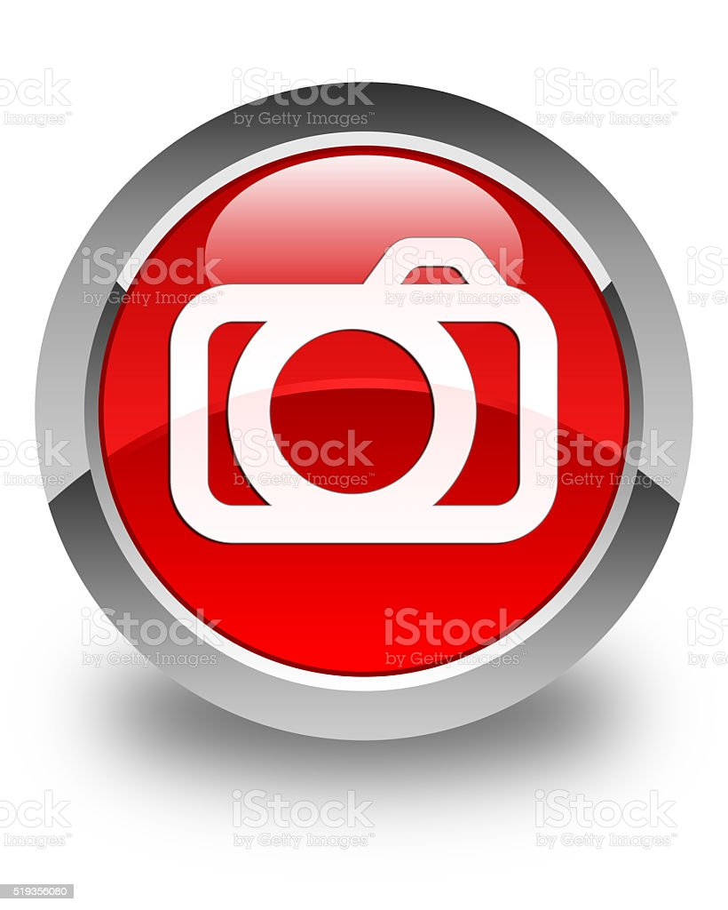 Camera icon glossy red round button stock photo