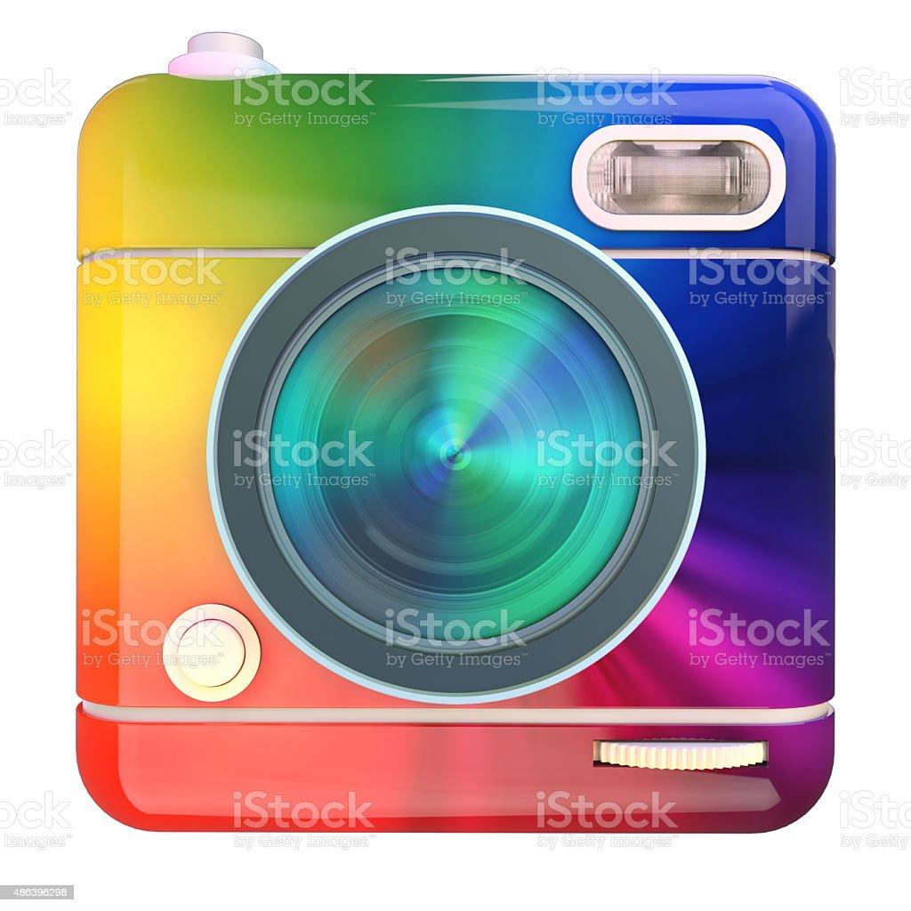 Camera icon rainbow stock photo
