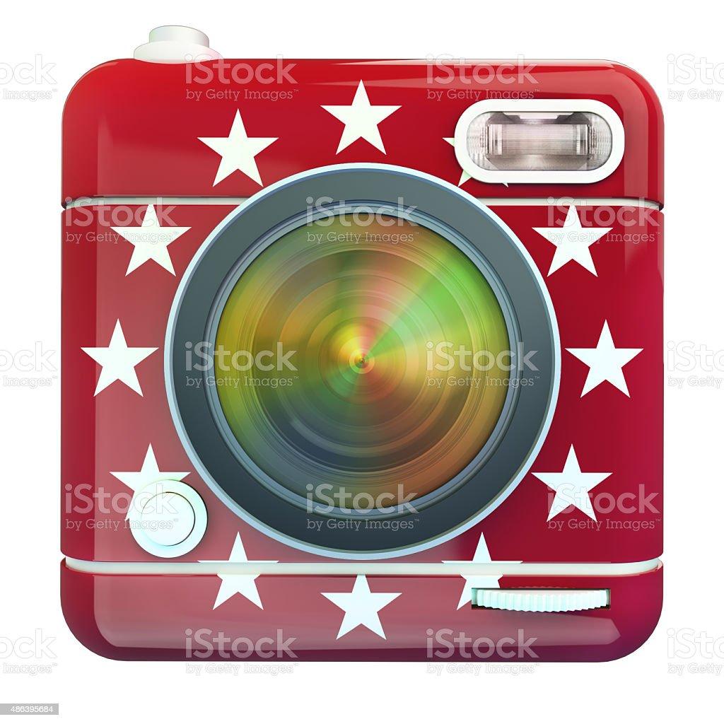 Camera icon red stars stock photo