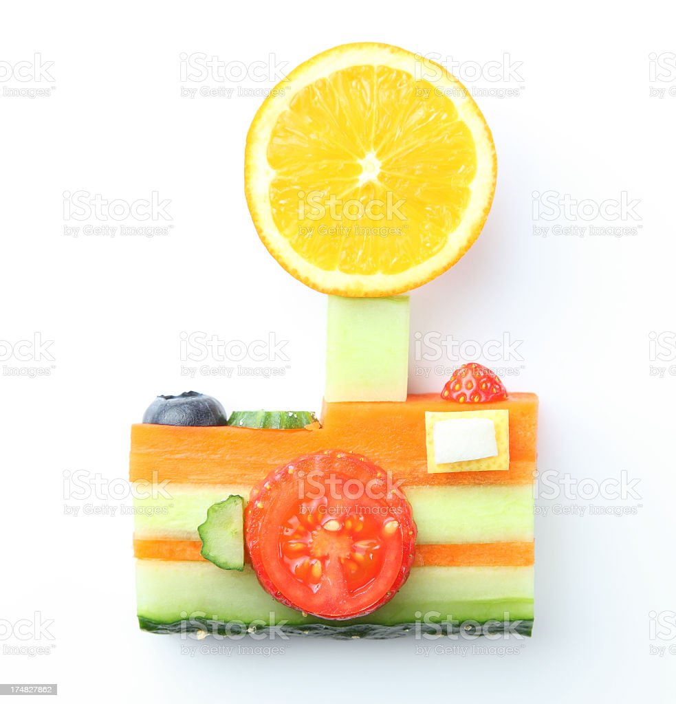 camera  in vegetable and fruit style royalty-free stock photo