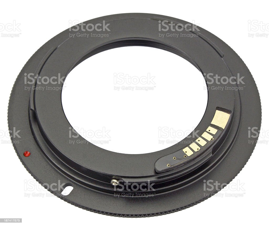 Camera lens adapter isolated on white stock photo