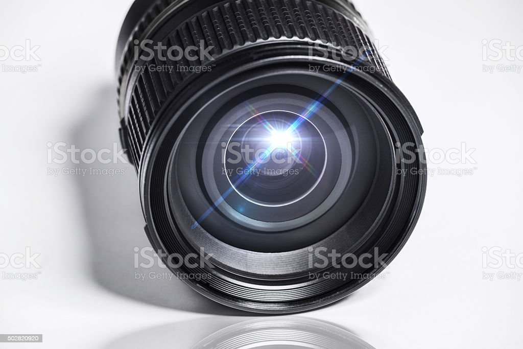Camera lens and aperture stock photo