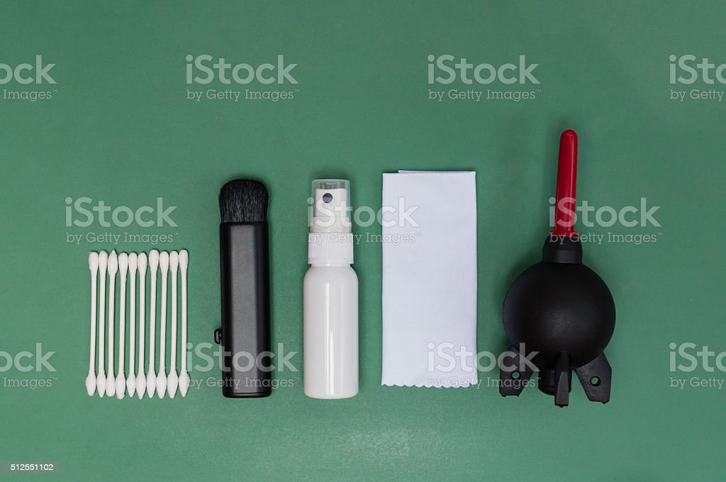 Camera lens cleaning kit stock photo