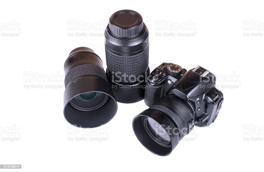 camera lens close up isolated on white stock photo