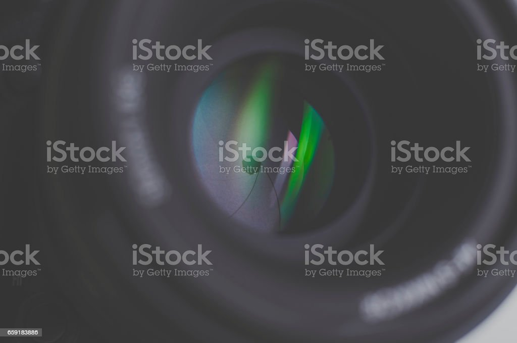 Camera lens close-up stock photo