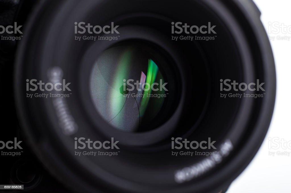Camera lens close-up. stock photo