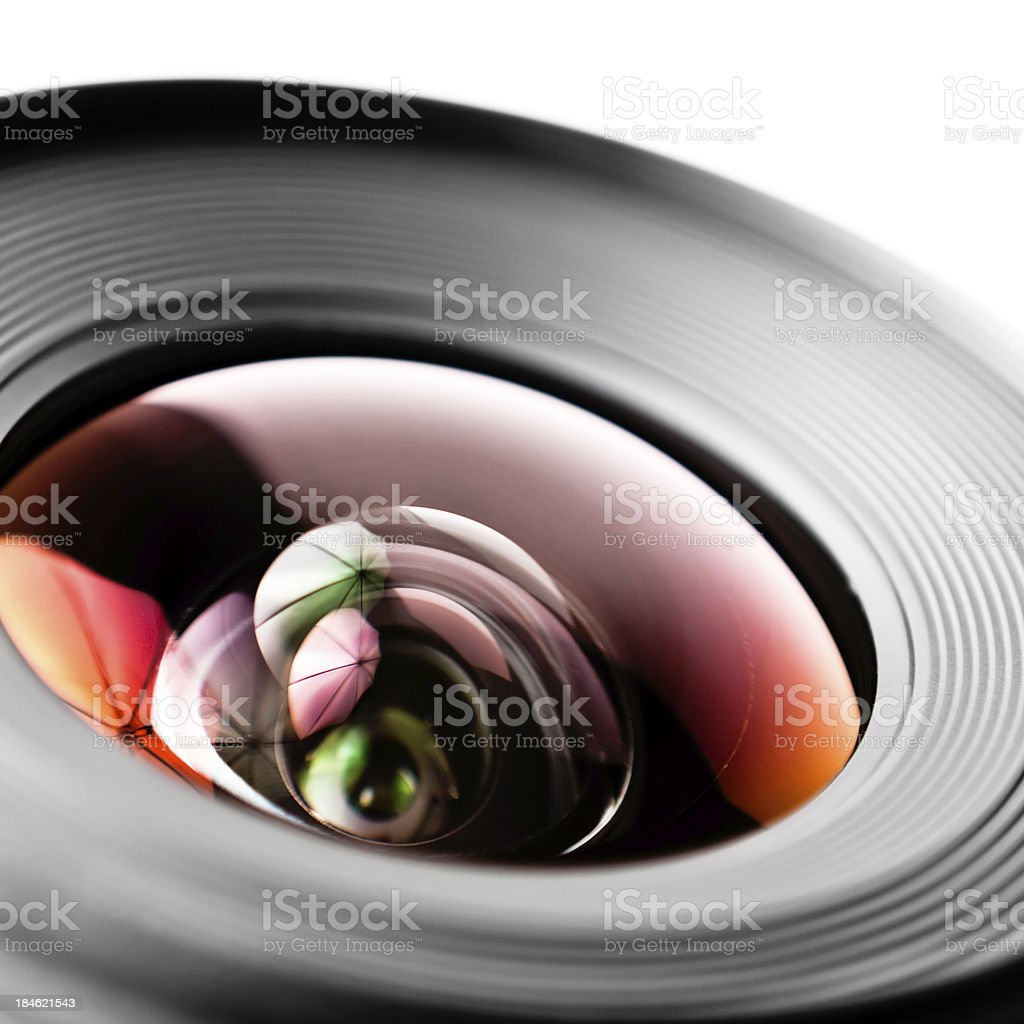 Camera Lens Detail on White Background royalty-free stock photo