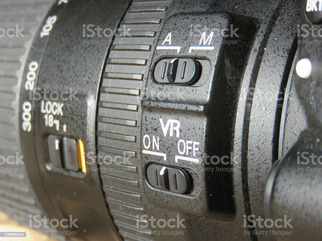 Camera lens features stock photo