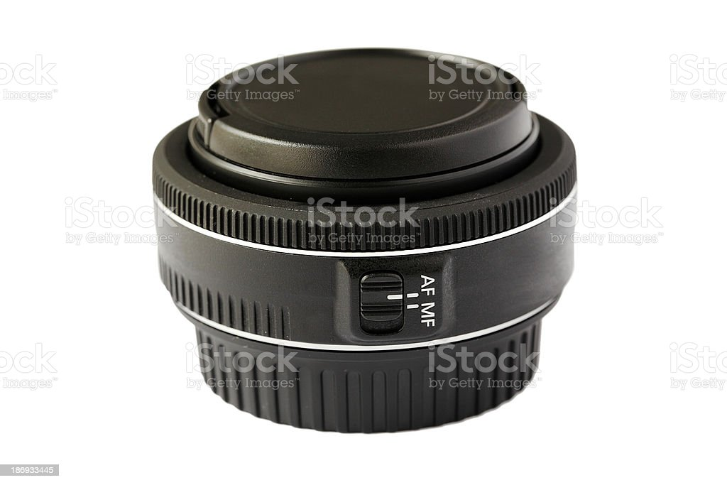 Camera lens isolated on white background royalty-free stock photo