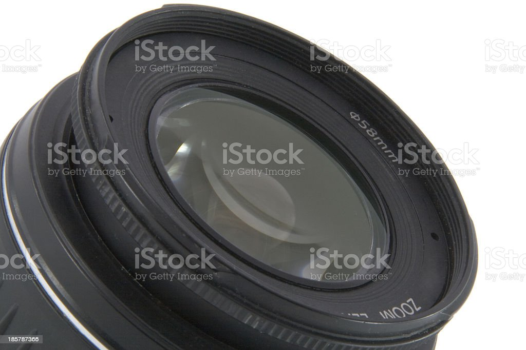 Camera lens macro shooting isolated on white background royalty-free stock photo