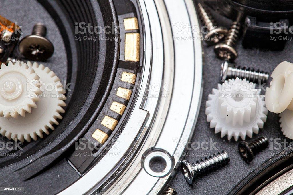 SLR camera lens parts stock photo