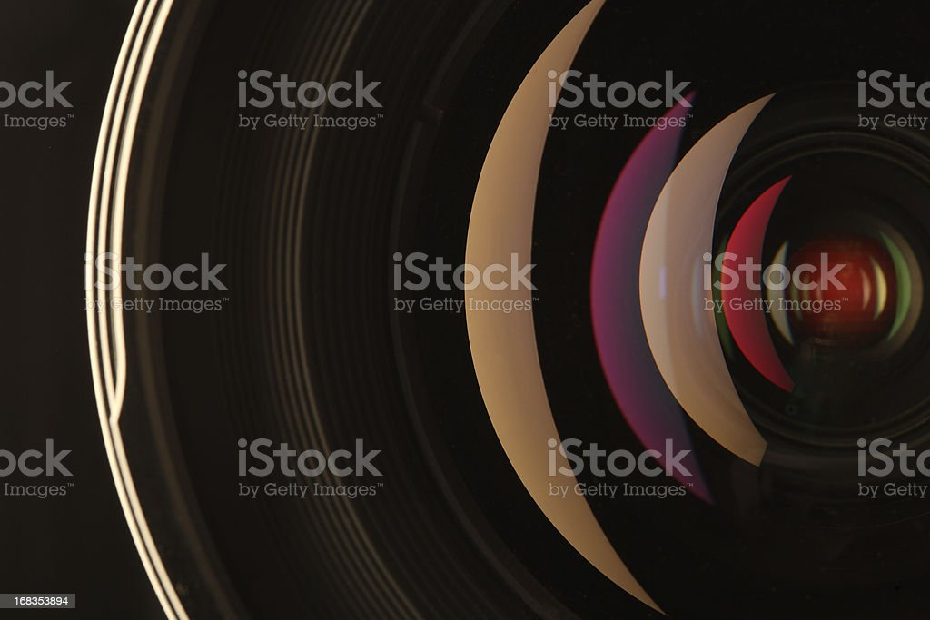 Camera lens reflections stock photo