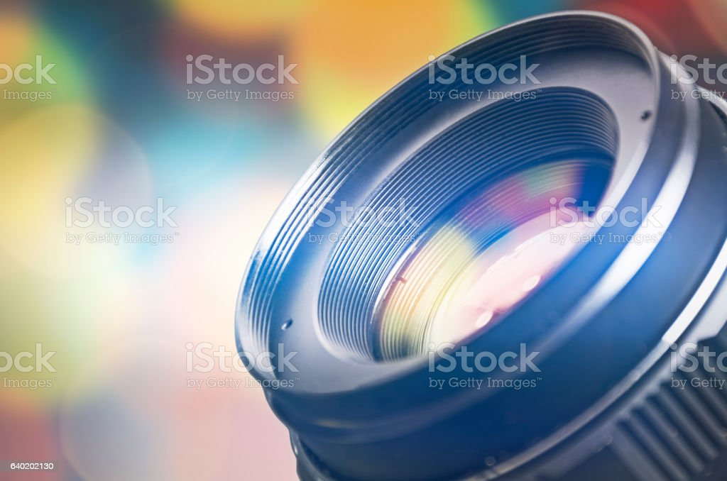 Camera lens with lens reflections stock photo