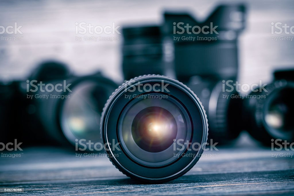 Camera lens with lense reflections. stock photo
