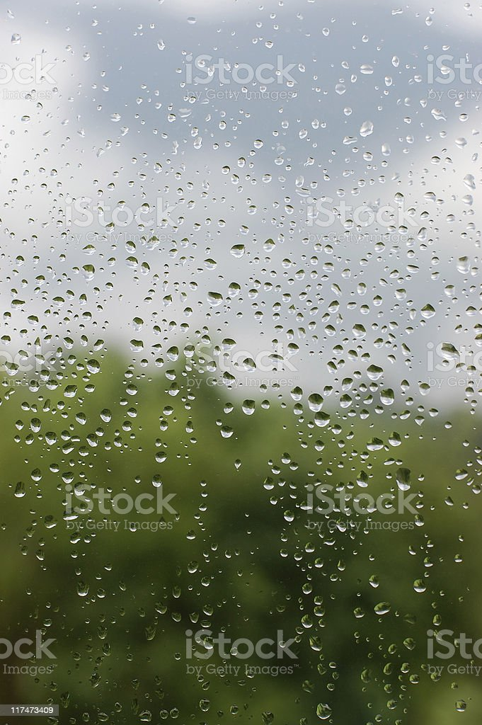 Camera lens with raindrops showing a rainy day royalty-free stock photo