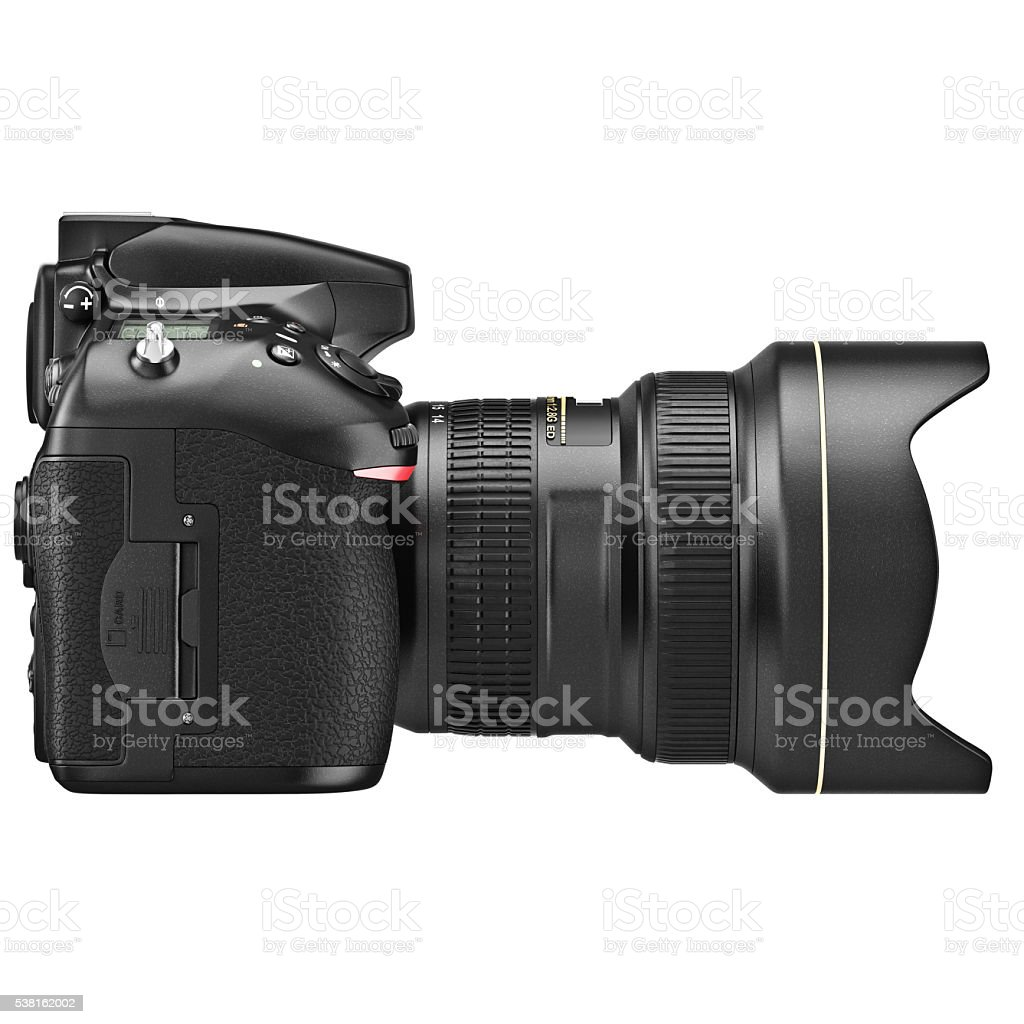 DSLR camera, lens zoom, side view stock photo