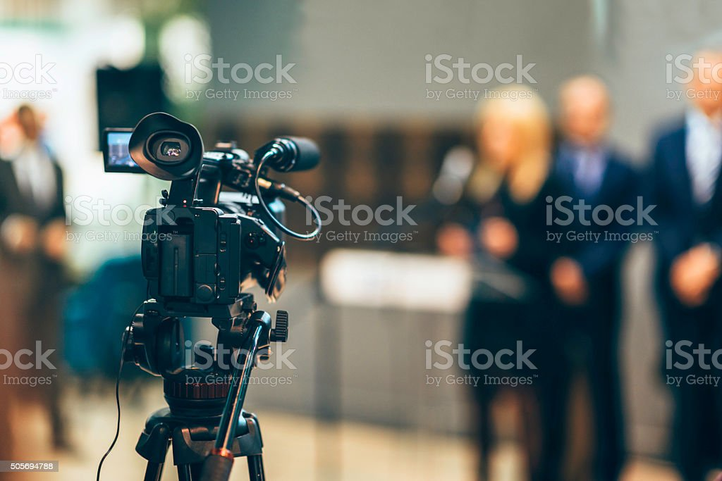 Camera media coverage stock photo