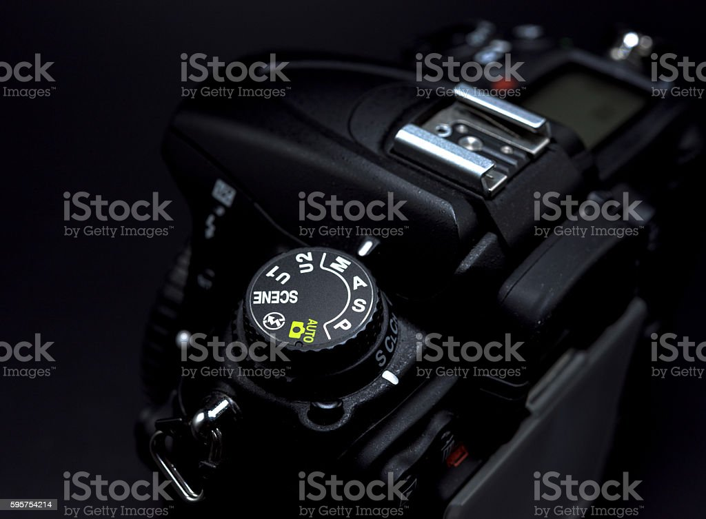 Camera mode dial Shutter priority mode stock photo