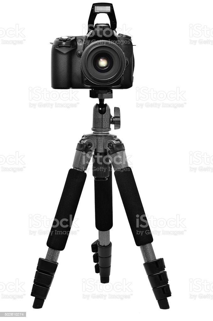 DSLR camera on a tripod stock photo