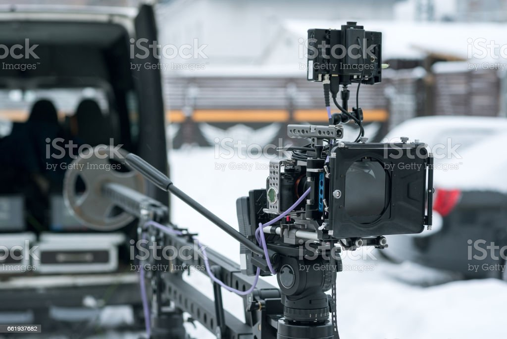 4K camera on crane stock photo