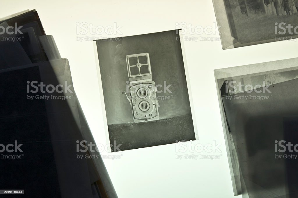camera on negative material stock photo