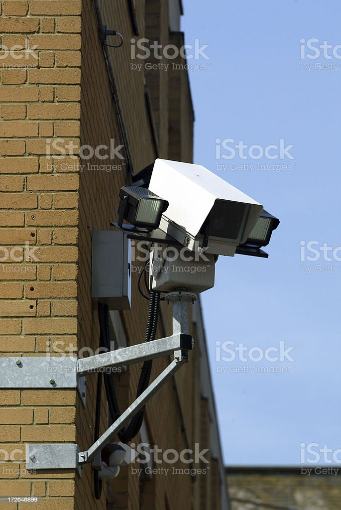 CCTV Camera on Side of Office building royalty-free stock photo