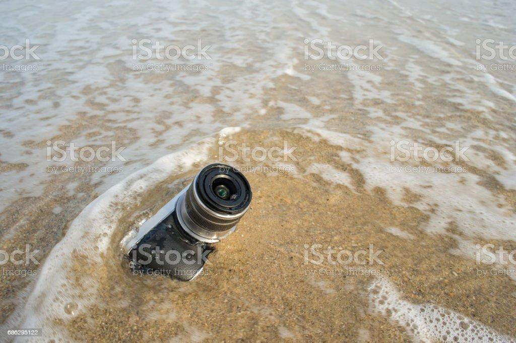 Camera on the beach, Concepcion drowned crash stock photo
