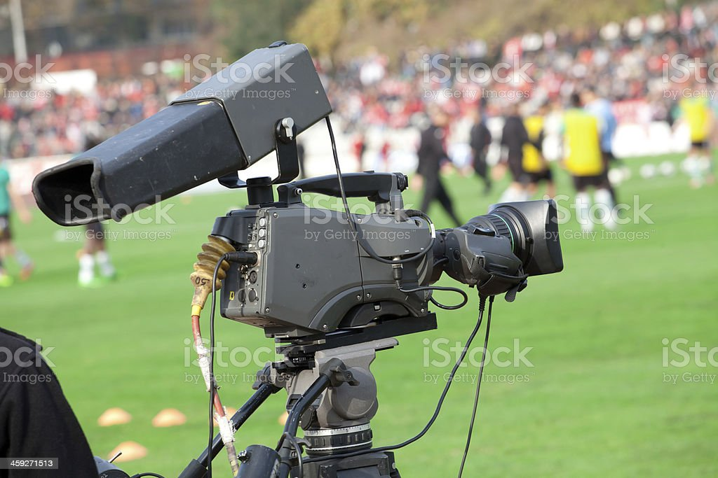 TV Camera on the football (soccer) mach stock photo