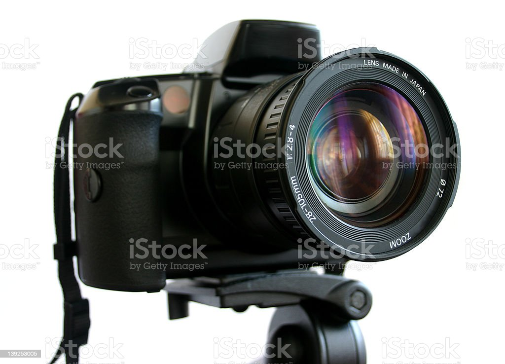 SLR Camera on tripod royalty-free stock photo