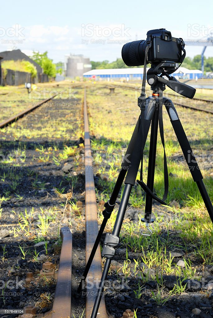 Camera on tripod royalty-free stock photo