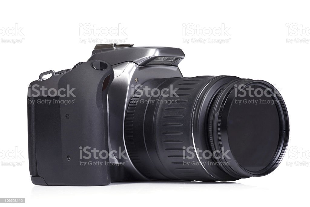 camera on white background royalty-free stock photo