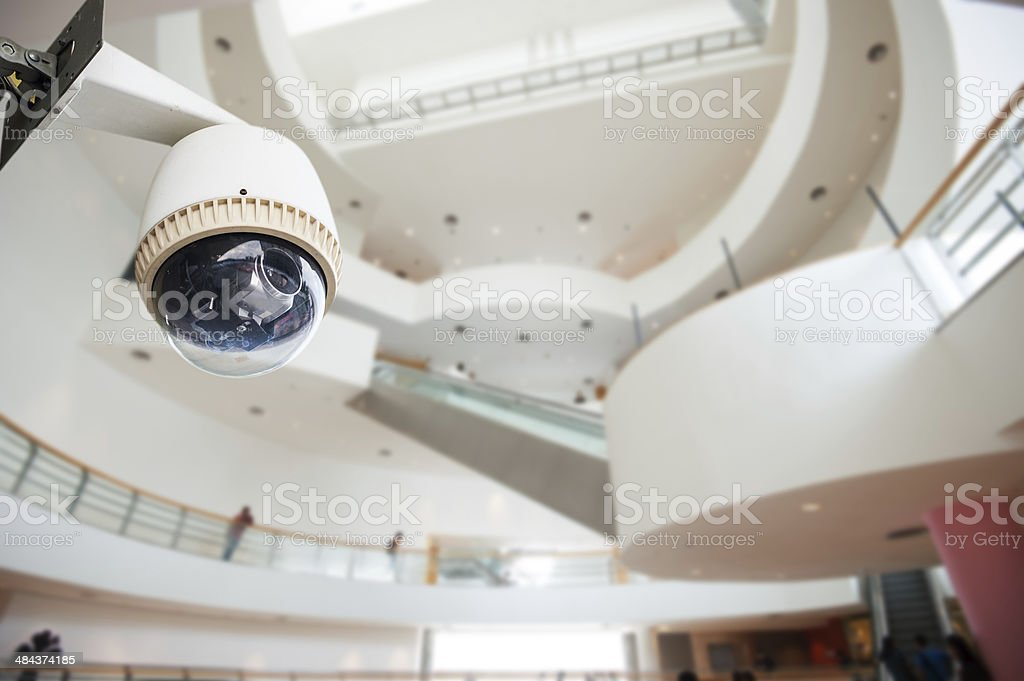 CCTV Camera Operating inside a building royalty-free stock photo