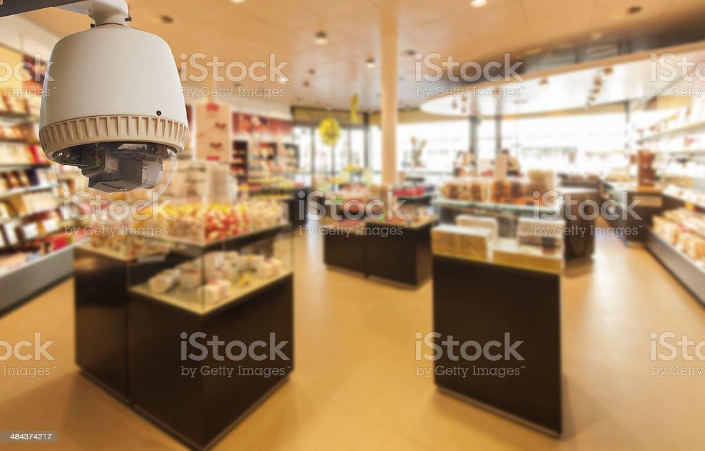 CCTV Camera Operating inside a shop stock photo