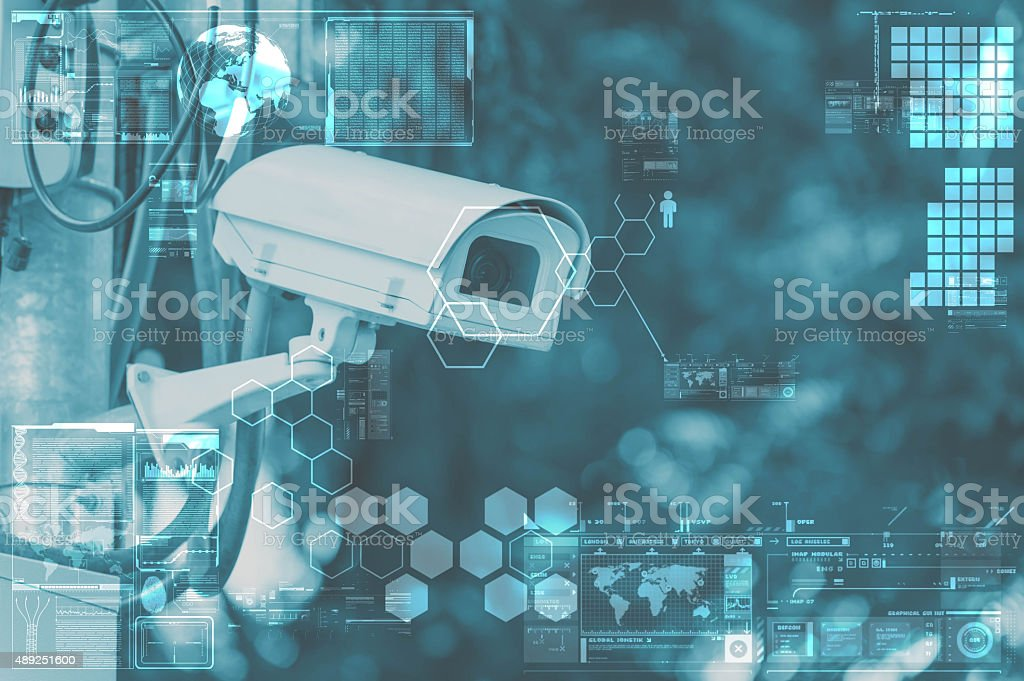 CCTV Camera or surveillance technology on screen display stock photo