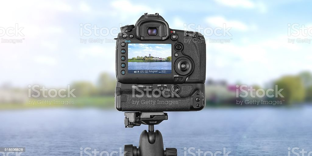 DSLR Camera outdoors nature stock photo