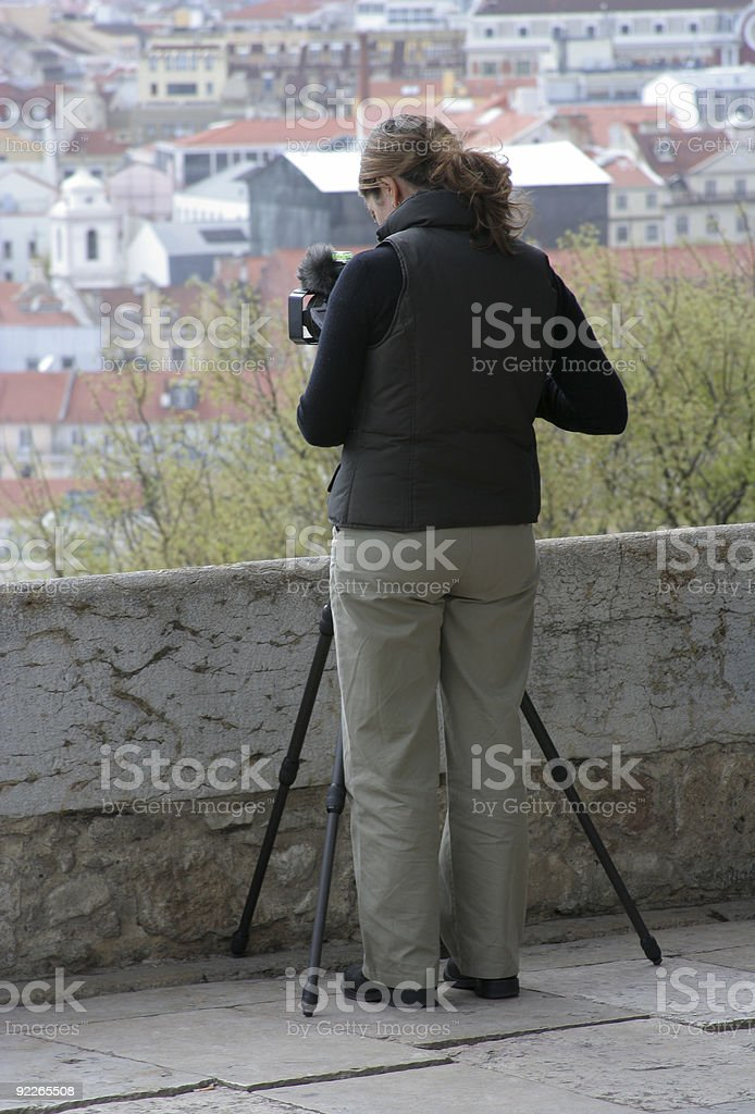 Camera person filming royalty-free stock photo