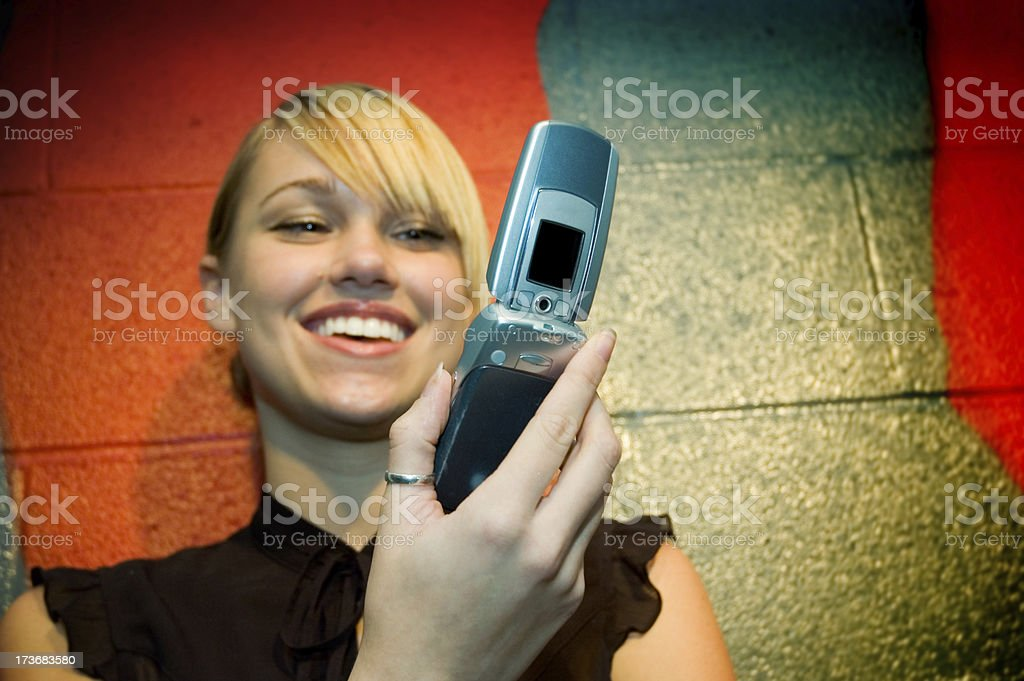 Camera Phone with Young Woman royalty-free stock photo