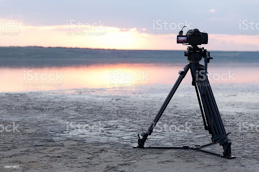 Camera Photographing at Sunset royalty-free stock photo