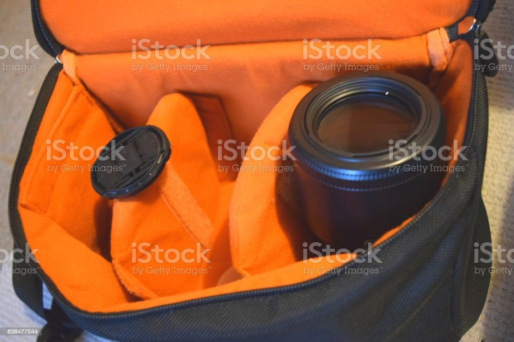 camera protected bag with camera lenses equipment stock photo