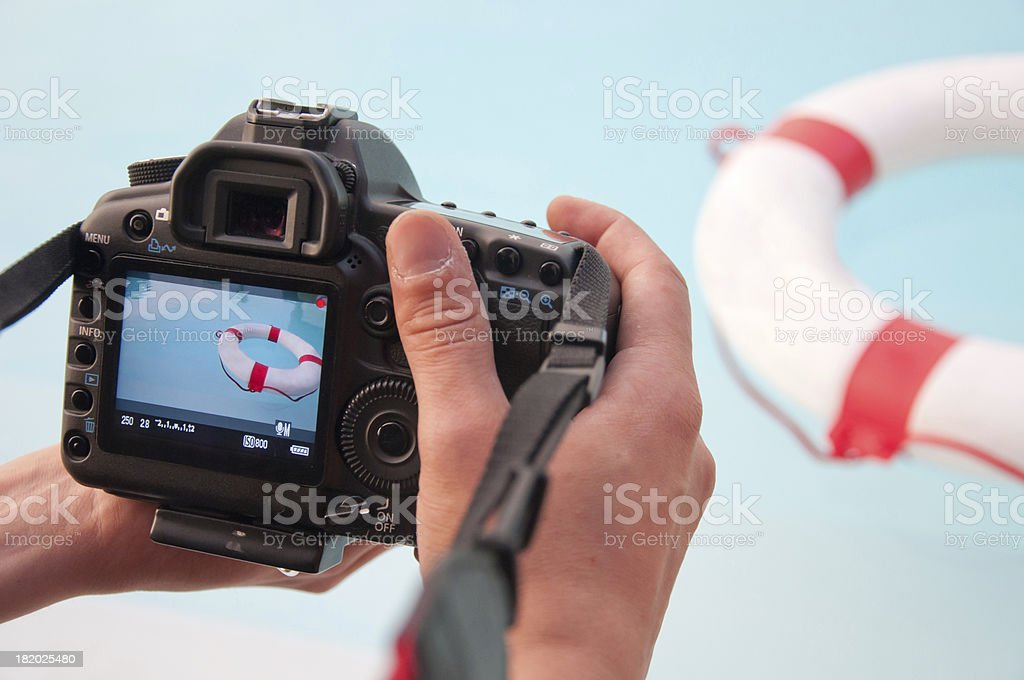 Camera shooting of a lifebuoy and water stock photo