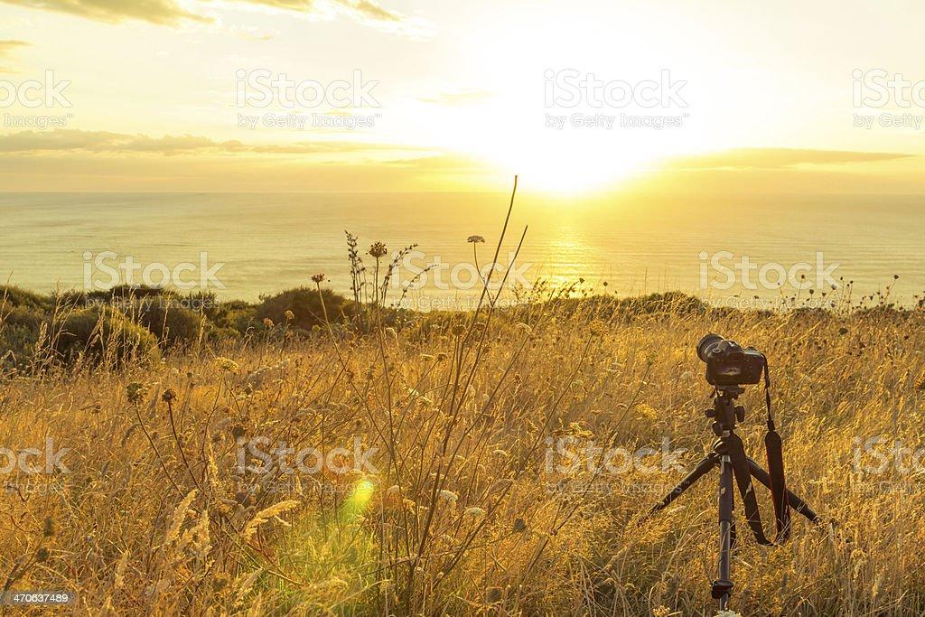 Camera shooting the sunset stock photo