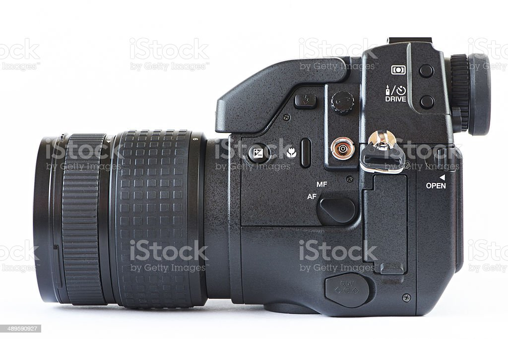 DSLR camera - side view stock photo