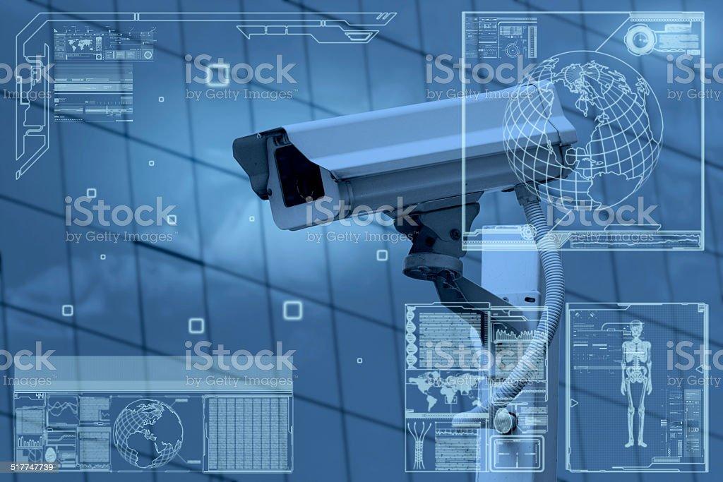 CCTV Camera technology on screen display stock photo